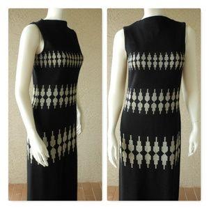 Black Knit Column Gown Silver Metallic Classic VTG